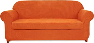 subrtex 2-Piece Jacquard High Stretch Slipcover Furniture Protector for Settee Spandex Washable 3 Seater Cushion Couch Cover Coat (Sofa, Orange)