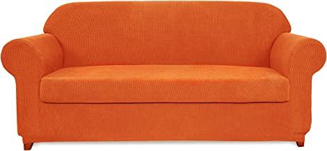 subrtex 2-Piece Jacquard High Stretch Slipcover, Furniture Protector for Conventional Settee Spandex Washable Common Armchair Cushion Couch Sofa Cover Coat (Medium, Orange)