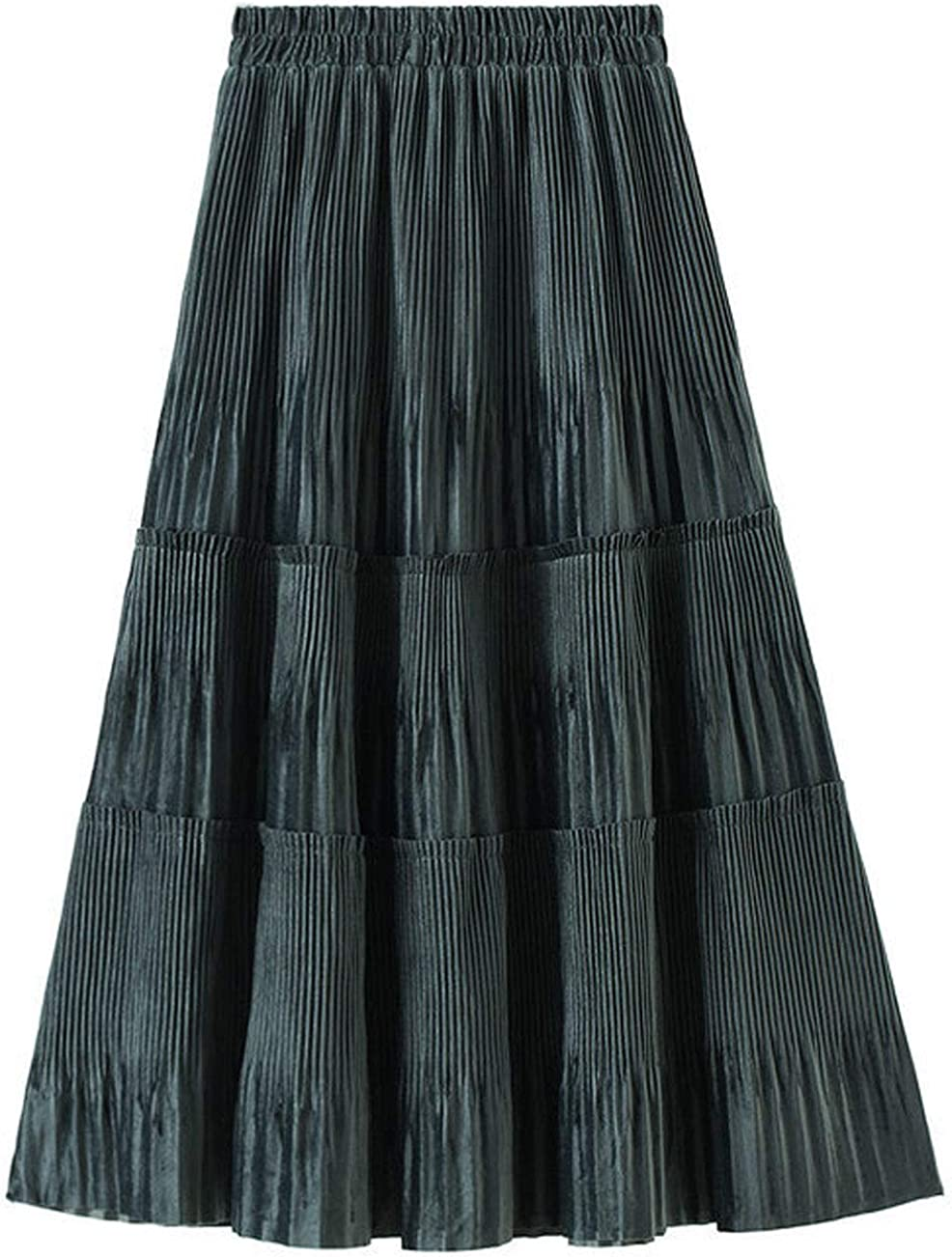 CHARTOU Women's Patchwork Elastic High Waist Velour Flared Pleated A-Line Midi Swing Skirt