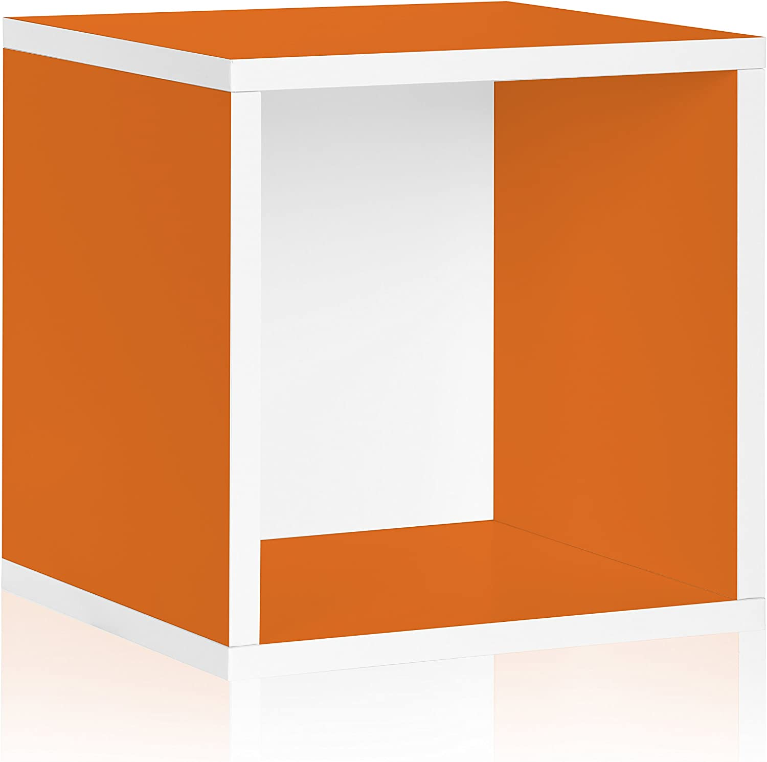 Way Basics BS-SCUBE-OE Stackable Large Storage Cube and Cubby Organizer, orange