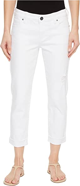 KUT from the Kloth Amy Crop Straight Leg w/ Roll Up Fray in Optic White