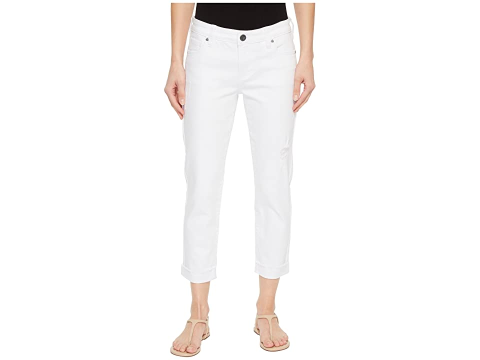 KUT from the Kloth Amy Crop Straight Leg w/ Roll Up Fray in Optic White (Optic White) Women