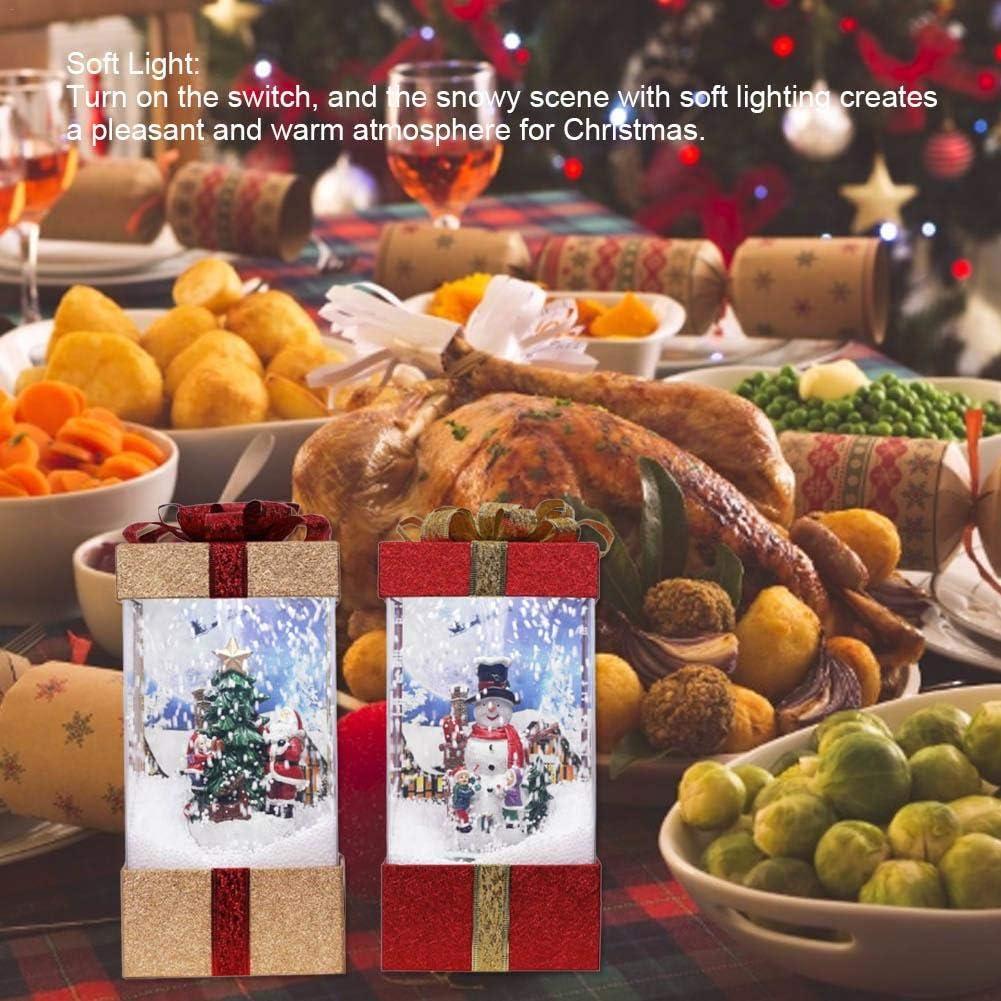 globalqi Musikalisches Schneekugel-Licht, Kasten-Wasser-Funkelnde spinnende Batterien betrieben Laterne Weihnachtsmann-Schneemann Christmastree dekorative Lampe Rot