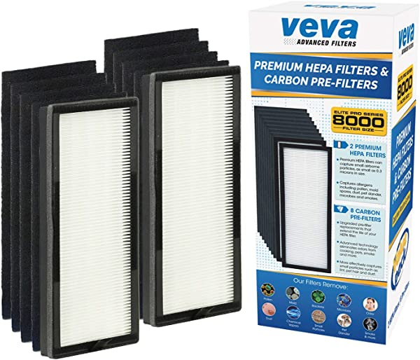 VEVA 8000 Elite Pro Series Air Purifier Replacement Value Pack 2 HEPA Filter 8 Premium Activated Carbon Pre Filters 2 Year Supply