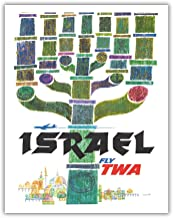 Pacifica Island Art Israel - Trans World Airlines Fly TWA - Menorah - Vintage Airline Travel Poster by David Klein 1960 - Fine Art Print - 11in x 14in