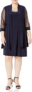 R&M Richards Women's Size 2 Piece Mesh Panel Beaded Neck Jacket Dress Plus