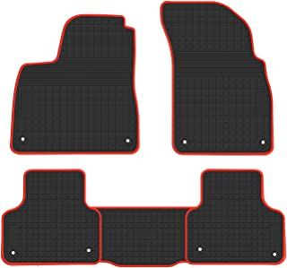biosp Car Floor Mats for Audi Q7 2016 2017 2018 2019 Front And Rear Heavy Duty Rubber Liner Set Black Red Vehicle Carpet Custom Fit-All Weather Guard Odorless