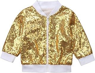 80ae05ecd09 rechange Toddler Kid Baby Girl Long Sleeve Front Zip Sequin Bomber Jacket  Outwear Coat