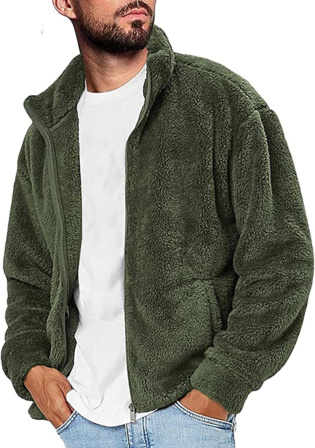NOLDARES Mens Cardigan Coat Ranking TOP2 Fuzzy Jacket Sweaters for Men quality assurance Casual