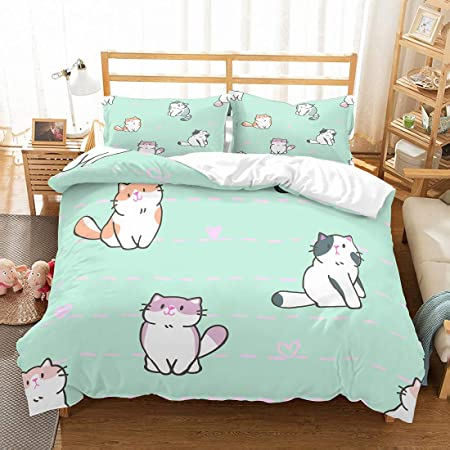 Rayhoo Bed Set Full Sheets Set Cute Cat 3 Piece Bedding Sets One Comforter Cover Two Pillowcase Without Quilt Cute cat,Green, Full,80x86 Ultra Soft Microfiber Teen Bedding for Girls Bedroom