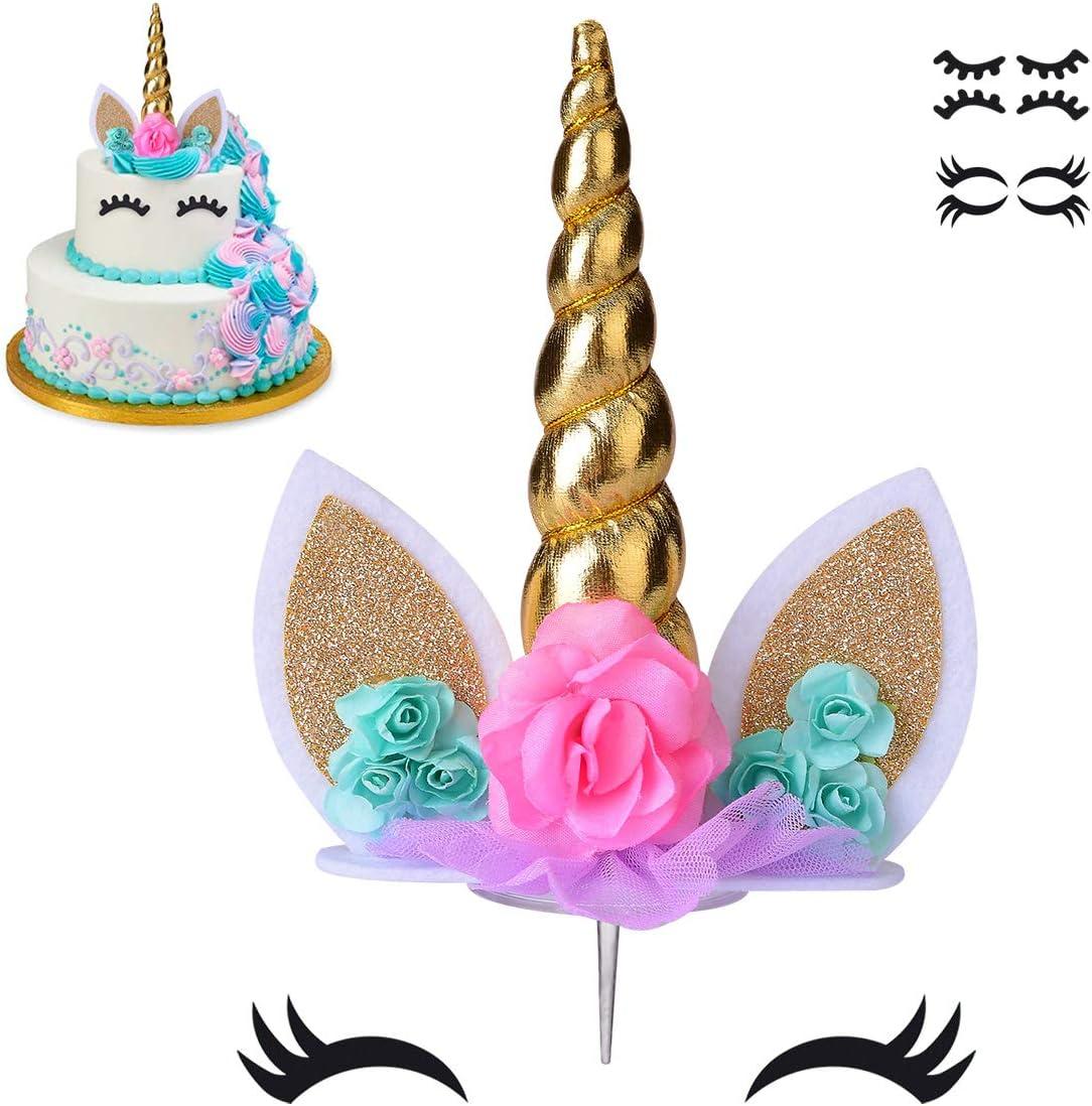 Unicorn Face Horns Pre-Cut Round Edible Icing Cake Topper