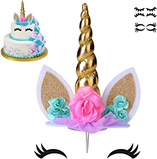 COONOE, Unicorn Cake Topper,Handmade Party Cake Decoration Supplies with multiple Eyelashes,Reuasble Gold Horn for Birthda...