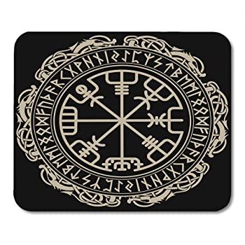 Amazon Com 8 X 10 Mouse Pads Viking Scandinavian Pattern And Circle Of Norse Runes White Iceland Mythology Mousepad For Laptop Desktop Computers Accessories Mini Office Supplies Mouse Mats Office Products