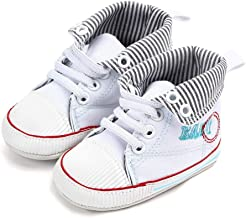 NUWFOR Newborn Toddler Baby Girls Boys Canvas Anti-Slip First Walkers Soft Sole Shoes(White,12-18 Months)