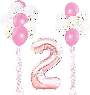 comprar comparacion KUNGYO Decoraciones de Fiesta de Cumpleaños para Adultos y Niños, Oro Rosa Gigante Número 2 y Estrella de Helio Globos, Ci...