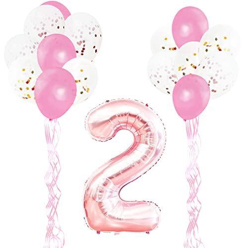 KUNGYO 2nd Birthday Party Decorations Kit Giant Rose Gold Number 2 Foil BalloonPink