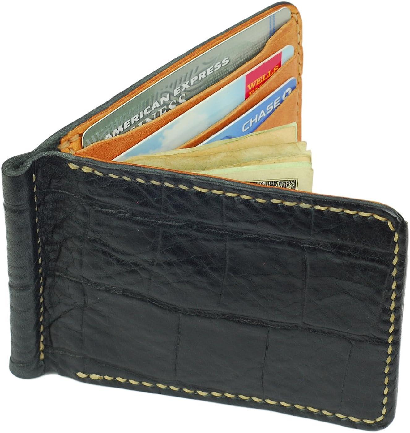 Leather Money Clip Wallet, Crocodile Grain, Black, Handmade