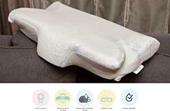"""The White Willow Cervical Contour Ergonomic Orthopedic Memory Foam Pillow for Neck & Back Pain Relief Designed for All Sleeping Positions- Side, Back, Stomach (23.5"""" L x 15"""" W x 4.5"""" H) -Multi"""