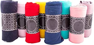 Moda West Case of 24 Wholesale Premium Bulk Soft Fleece Throw Blankets 50 X 60 with Assorted Colors