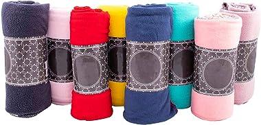 Moda West Case of 24 Wholesale Premium Bulk Soft Fleece Throw Blankets 50 X 60 with Assorted Colors