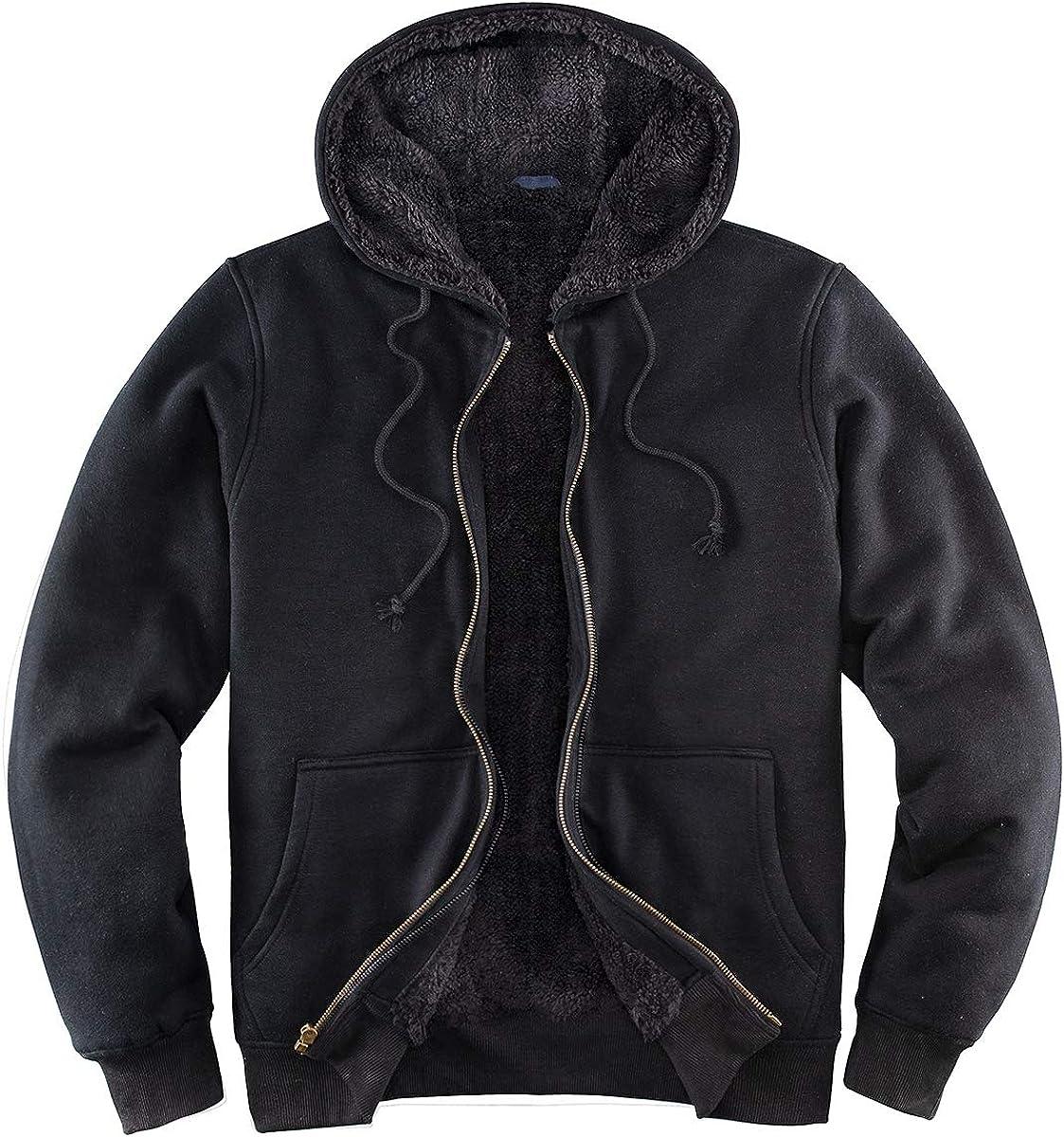 Fleece Lined Hoodies for Men Heavyweight Hooded Sweatshirts Full Zip Warm Fleece Jacket Men Winter Sweater Coats