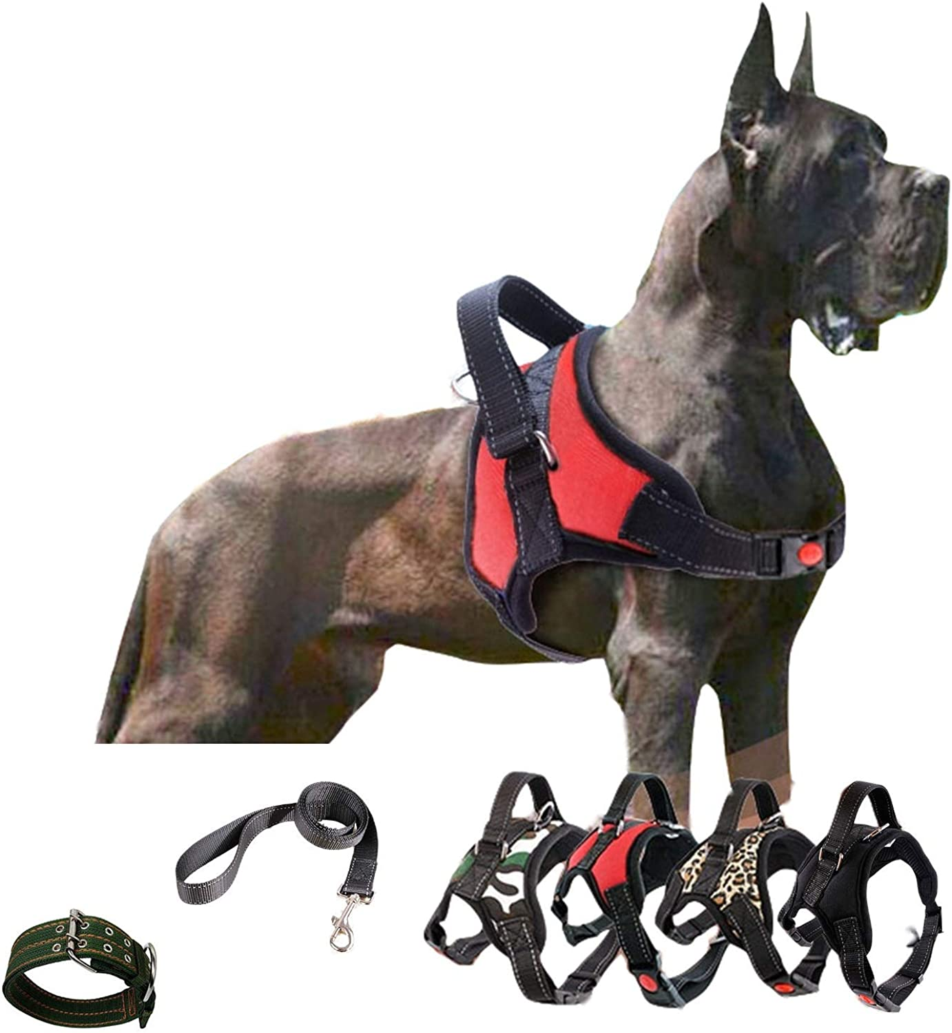 KimiGo Larger Dog Adjustable Outdoor Safty Vest Harness for Training Walking Running with Reflective Traction Rope with Canvas Collar Size M Red