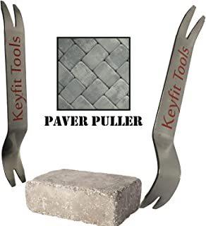 Keyfit Tools Paver Puller Stainless Steel (2PC Set) Paver Extraction Removal Raise Sunken Brick & Pavers Locked by Edging & Other Pavers