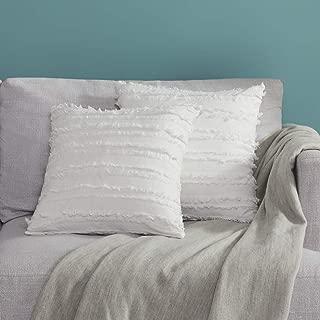 GIGIZAZA Decor Throw Couch Pillow Covers,18x18 Cotton White Sofa Pillows,Square Sofa Cushion Covers Linen (White, 18x18inch-2pcs)
