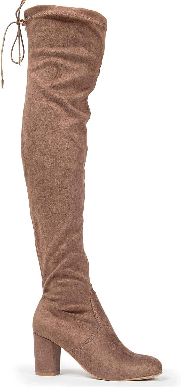 J. Adams Aspen Boots for Women - Mid Block Heel Drawstring Over the Knee Boot