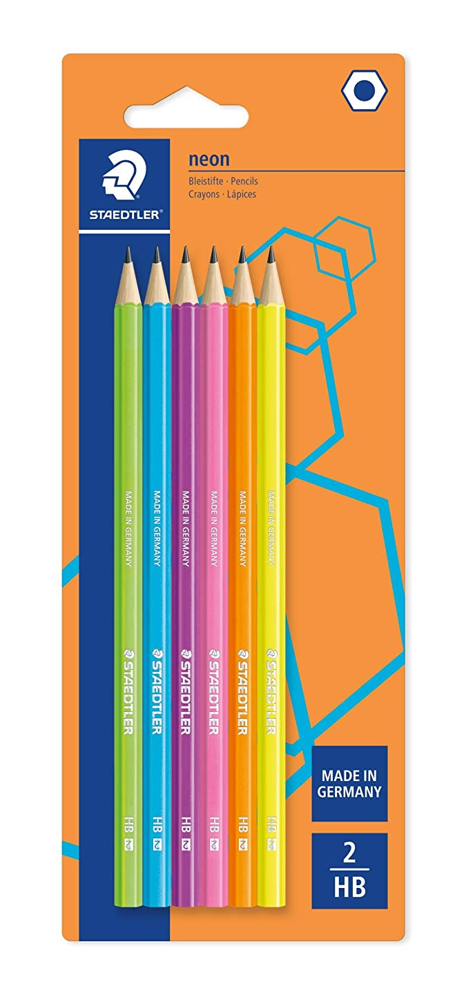 Staedtler Wopex 180F BK6 Neon HB Premium Quality Pencils - Assorted Colours (Pack of 6)