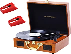 JOPOSTAR Record Player Turntable 3-Speed Belt-Drive Vinyl Record Player with Stereo Speakers Headphone Jack Aux Input RCA Line Out, Vintage Style Turntable and 2 Pack Needle
