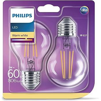Philips pack de 2 bombillas LED estándar de filamento, efecto vintage, casquillo gordo E27, 7 W equivalentes a 60 W en incandescencia, 806 lúmenes, luz blanca cálida: Amazon.es: Iluminación