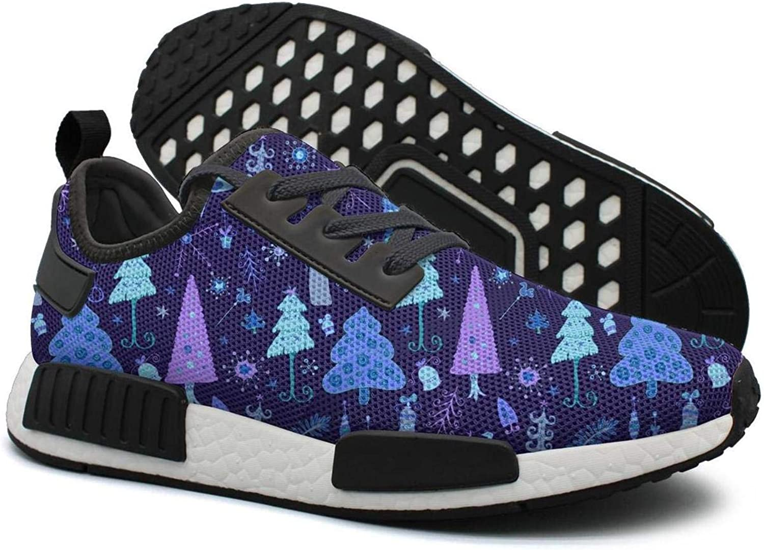 Ktyyuwwww Women's colorful Cool Sneaker Purple Christmas Trees Unique Sports Running shoes