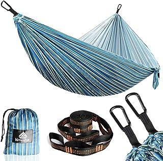 NATUREFUN Hamaca de Viaje Ultraligera para Camping | Capacidad de Carga de 300 kg, (275 x 140 cm) Secado rápido Hamaca | 2 x mosquetones de Primera Calidad,2 x eslingas de Nylon Incluidas