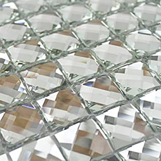 Mirror Tiles Silver Bathroom Wall Sheets Crystal Diamond Mosaic Tile Backsplash Kitchen Bevel glass Subway Home Improvement Materials [Pack of 11PCS(12x12x0.16 Inches /each)]