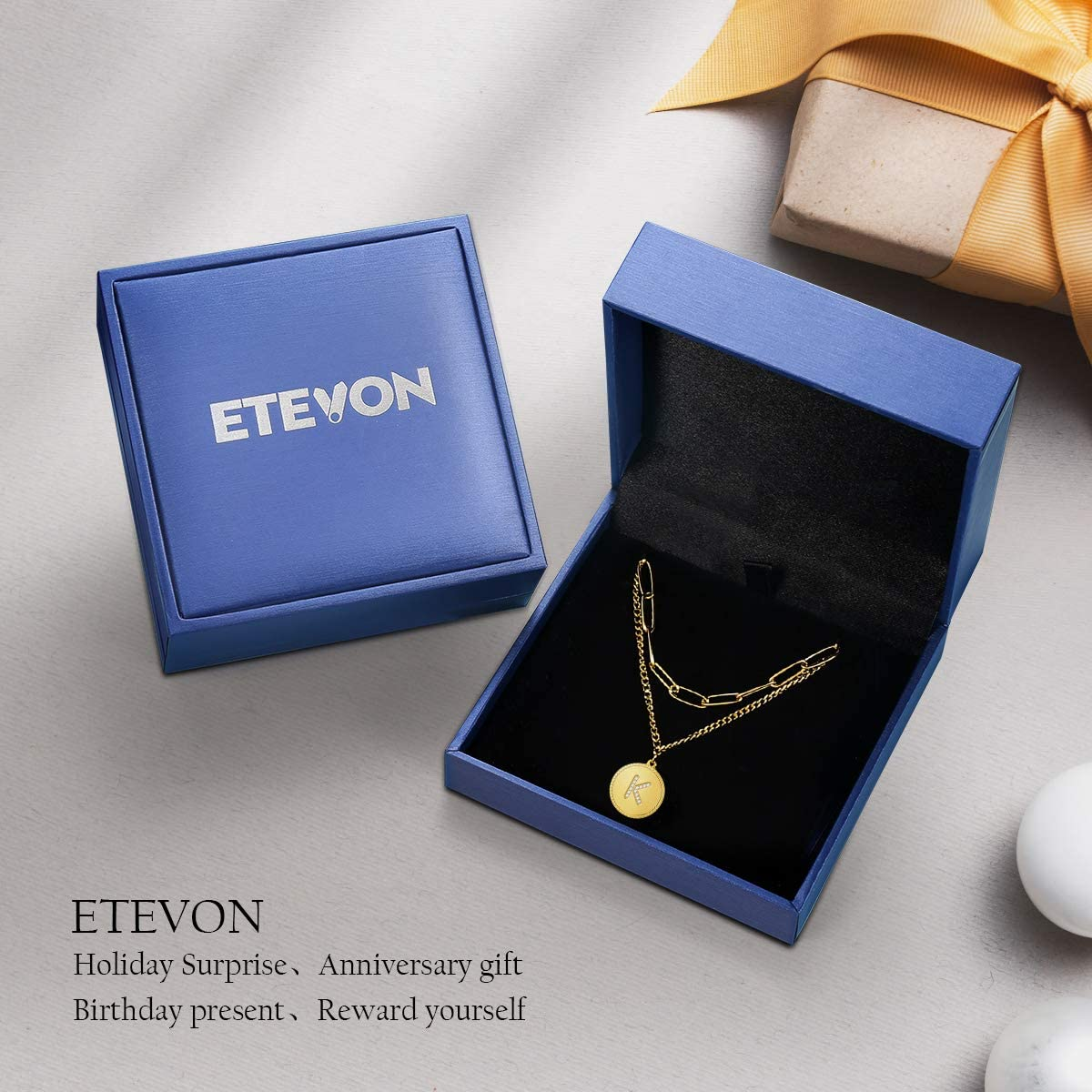 ETEVON Womens Gold Initial Anklet Bracelet Double Layer Foot Chain Adjustable Ankle Jewelry Gifts with Dainty Letter for Teen Girls Valentines Day