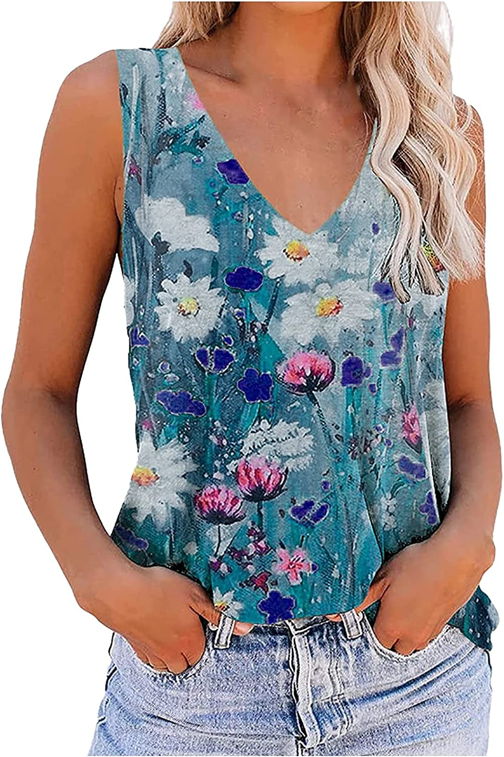 AODONG Summer Tops for Women, Womens V Neck Tank Top Trendy Sleeveless Floral Print T Shirts Tunic Blouses