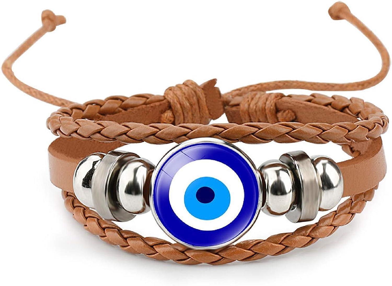 40% OFF Cheap Sale Turkish Blue Evil Eye Popular popular Leather Adjustable Wri Braid Hand Bracelet