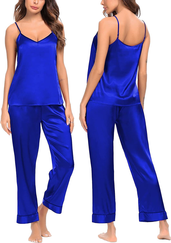 SWOMOG Women's Satin Pajamas Set Silk Sleepwear V-Neck Cami Nightwear Sexy Lingerie Pjs Set