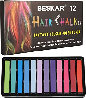 Hair Chalk for Girls, Hair Chalk Dye for Kids, Non-Toxic Hair Chalk Pens, Temporary Washable Hair Color for Halloween Makeup, Birthday Gifts, Party, Cosplay, Theater, Salon, Christmas Gifts, 12 Colors