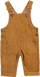 Carolilly Baby Jungen Latzhose Kord Overall Einfarbig Jumpsuit Strampler Retro Hose mit Hosenträger Trägerhose mit Knöpfen