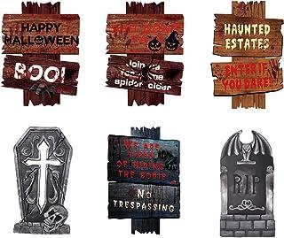 Gukasxi 7 Stks Halloween Yard Tekenen Outdoor Gazon Decoratie Grafsteen Yard Stakes Pas op Teken c Halloween Props Decorat...
