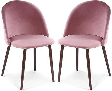 POLY & BARK Sedona Velvet Dining Chair, Set of 2, Dusty Rose/Walnut