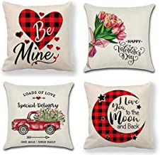 QICI 4 Pcs Valentines Day Decorations Valentine's Day Pillow Covers Valentine's Day Buffalo Check Pillow Covers Buffalo Plaid Throw Pillows Covers Retro Truck Love Cushion Cover(18x18in)