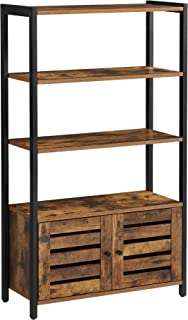 VASAGLE LOWELL Bookshelf, Storage Cabinet with 3 Shelves and 2 Louvered Doors, Industrial Bookcase in Living Room, Study, ...