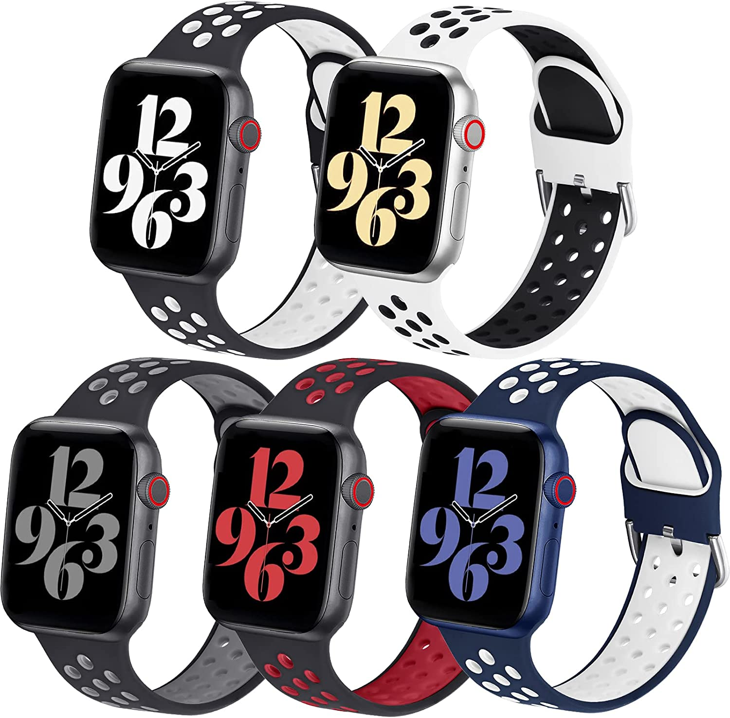 5 Pack Silicone Band Compatible with Apple Watch Band 42mm 44mm 45mm 38mm 40mm 41mm for Women Men,Soft Breathable Silicone Sport Strap with Air Hole for iWatch SE Series 7/6/5/4/3/2/1