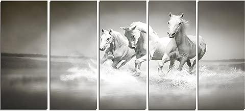 "Designart PT13126-401 Horses Running Through Water Oversized Animal Wall Art, 60x28"", White"