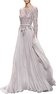 YSMei Women's Long Sleeve Prom Dress Backless A Line Evening mal Gowns