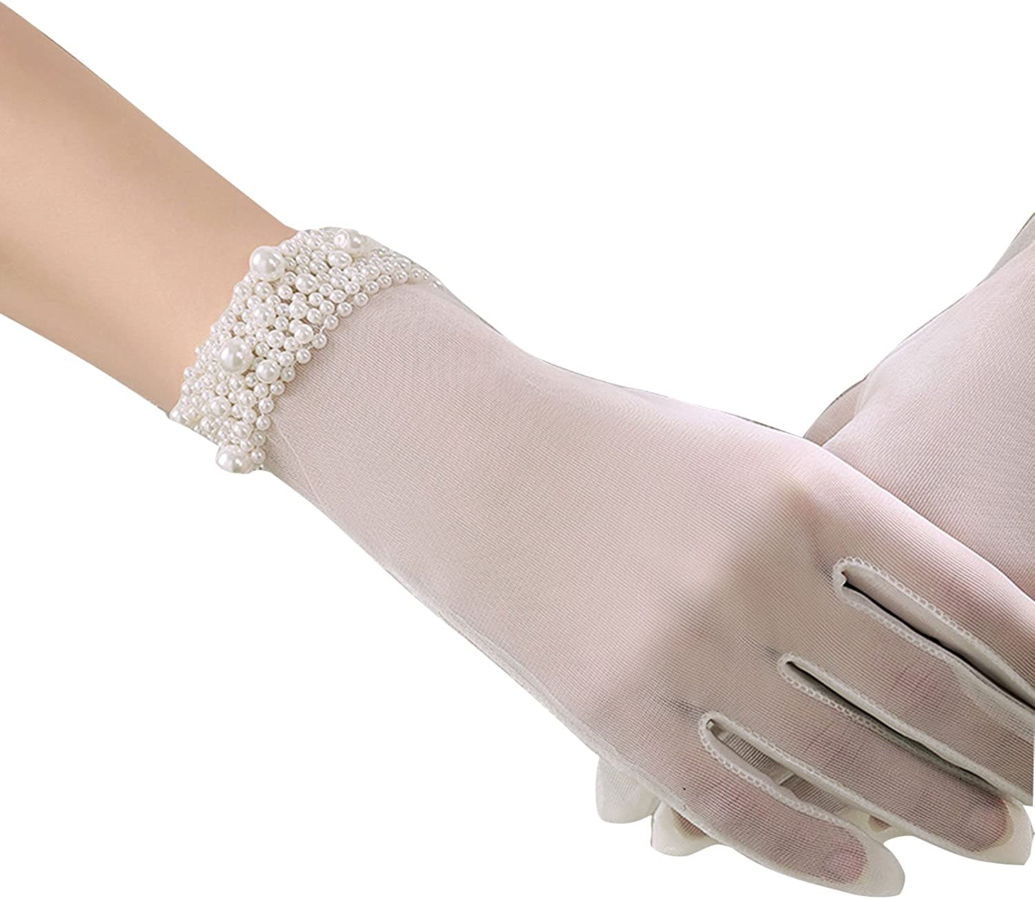 POPOOL PPLY02 Bridal Wedding Gloves Lace bow knot Gloves,tulle cuff bead gloves