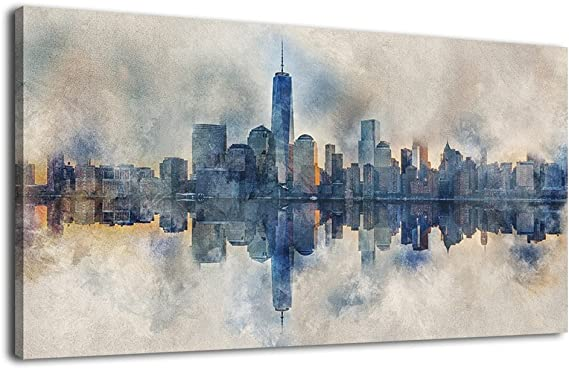 Canvas Wall Art Abstract Painting Prints New York Skyline Reflection In Water Modern Canvas Artwork Panoramic Landscape Contemporary Wall Art Pictures Grey Blue For Home Office Decoration 20 X 40 Posters Prints Amazon Com